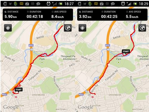 Screenshot of two maps showing two runs with different distances recorded for same run